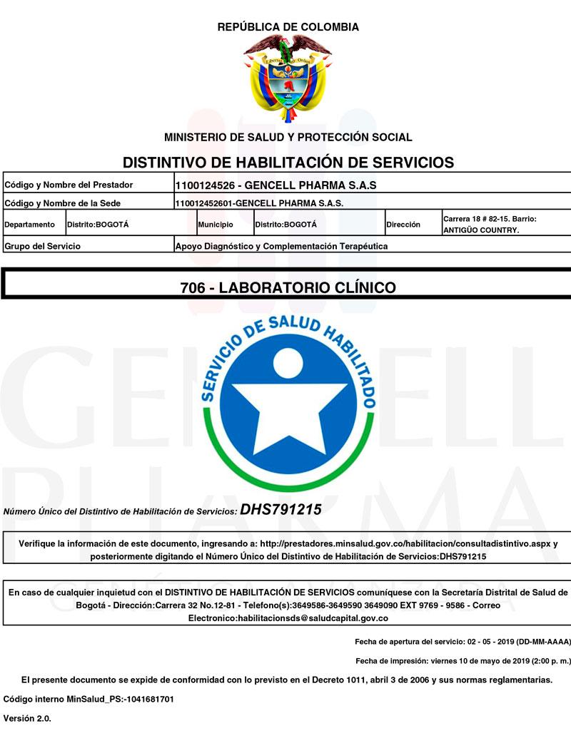 Habilitación laboratorio - Gencell Pharma