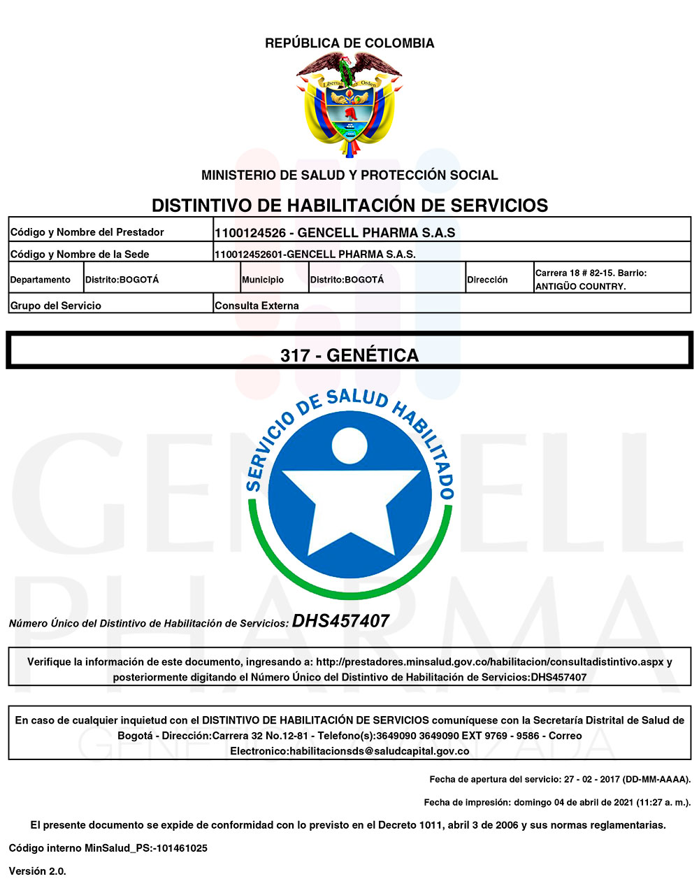 Habilitación Genética - Gencell Pharma